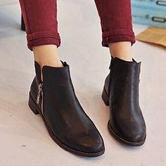 HO&OB Women's Vintage Solid Color Zipper Boots