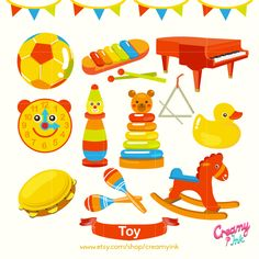 Cute kids toy digital clip art featuring different types of toys such as rocking horse, piano, ball and more. #clipart #vector #design See more at CreamyInk.etsy.com