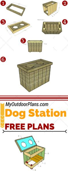 This step by step diy woodworking project is about dog feeding station plans. The project features instructions for building a raised feeding station with two bowls (one for water, one for food) and a large storage area for your pet's food and toys. Woodworking Shows, Woodworking Furniture Plans, Woodworking Projects That Sell, Woodworking Supplies, Dog Station, Dog Feeding Station, Build A Dog House, Dog House Plans, Wooden Playhouse