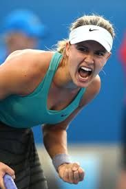 Genie Bouchard is pumped during her Quarterfinals match against Ana Ivanovic at the 2014 Australian Open. Quebec, Montreal, Eugenie Bouchard, Pro Tennis, Ana Ivanovic, Tennis Fashion, Tennis Stars, Australian Open, Sports Stars