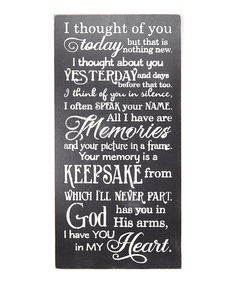 Look what I found on #zulily! Black 'I Thought of You Today' Wall Sign by Sara's Signs #zulilyfinds