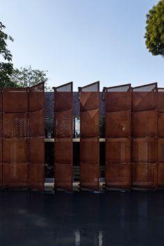 A Cor-Ten screen facade.