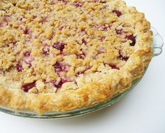 Raspberry Crumb Pie. This was a pretty good pie! I didn't use her pie crust recipe--I had a crust I had made earlier in the freezer, but followed everything else and it was tasty.