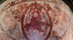Christ with angels - Carolingian wall painting in Müstair The Last Judgment, Carolingian, Jesus Painting, Romanesque, Fresco, Medieval, Vintage World Maps, Saints, Angels