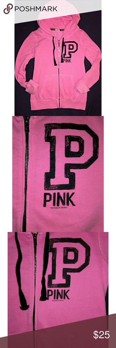 Victorias Secret Pink VS Pink Limited Edition perfect zip up hoodie   Neon pink with black hoodie strings & logo at chest. Plain back. Super shiny chrome exposed zipper and zipper pull.   Normal wear No excessive signs of use  No imperfections or flaws  No pilling PINK Victoria's Secret Tops Sweatshirts & Hoodies