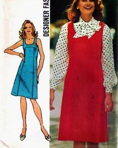 Simplicity 5418 1970s 70s Mod Dress Jumper by EleanorMeriwether