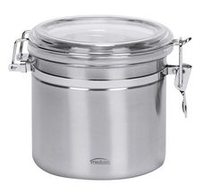 Stainless-Steel Food-Storage Canister  30-ounce food-storage canister  Rugged stainless-steel construction with a lovely brushed satin finish Transparent polystyrene lid seals with an airtight latch to prolong freshness Dishwasher-safe for quick cleanup Measures 6 by 6 by 4 inches; 5-year limited warranty  http://www.amazon.com/gp/product/B000QS326U/ref=as_li_tl?ie=UTF8&camp=1789&creative=390957&creativeASIN=B000QS326U&linkCode=as2&tag=youlolscom-20&linkId=Q4JIAPJJPMA32MZS