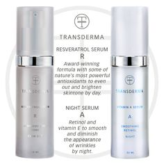 Transderma Skin Care Even out the appearance of dark spots and uneven pigmentation by day with Transderma R resveratrol serum; smooth and renew by night with Transderma A natural retinol night serum... http://www.mytransderma.com/beautifulskin/even-out-the-appearance-of-dark-spots-and-uneven-pigmentation-by-day-with-transderma-r-resveratrol-serum-smooth-and-renew-by-night-with-transderma-a-natural-retinol-night-serum/