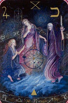 Wheel of Fortune - Spiral Tarot / triple goddess / Sacred Geometry maiden mother and crone Wheel Of Fortune Tarot, Pagan Art, Tarot Major Arcana, Triple Goddess, Tarot Spreads, Illustration, Oracle Cards, Gods And Goddesses, Tarot Decks
