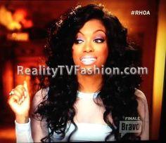 "Porsha Williams' ""Green Screen Interview"" Light Blue Sheer Stripe Mini Dress on ""Real Housewives of Atlanta"""