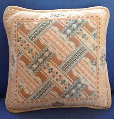Bargello Stitched Needlepoint Pillow by GailsVintageGarden on Etsy