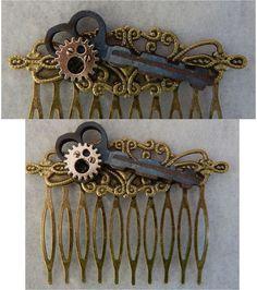Gold Steampunk Key Hair Comb NEW Hair Pins Comb Handmade Wood Gear accessories #Handmade #HairComb http://www.ebay.com/itm/162022524010?ssPageName=STRK:MESELX:IT&_trksid=p3984.m1558.l2649