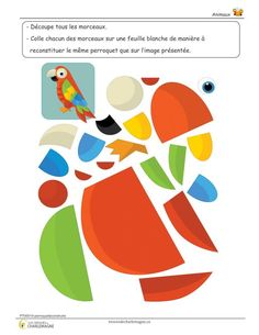 Ce document est un petit exercice où l'élève doit découper et coller les morceaux du perroquet afin de le reconstituer comme sur le modèle présenté. Cet exercice permet de travailler la dextérité fine ainsi que la logique. Ce document comprend une page. 1er cycle,1ère année,2e année,animaux,Arts plastiques,Caroline B.,Compréhension du monde,évaluation,exercice,Lettre,Mathématiques,Nouveautés,Passe-temps,Préscolaire,préscolaire,simple Paper Birds, Felt Birds, Fabric Birds, Craft Activities For Kids, Book Activities, Foam Crafts, Paper Crafts, Alphabet Letter Templates, Diy For Kids