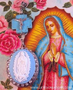 Catholic Virgin Mary OL Guadalupe, Locket Shrine Religious Pendant www.letyscreations.com