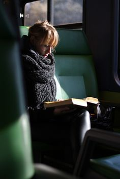 Not me, but this is my ultimate peace: travel, book, cozy wool and sunlight. :)