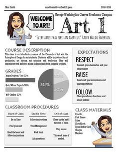 Art Syllabus Editable High school or Middle school Art Syllabus Editable High… - Kunstunterricht Art Syllabus, Class Syllabus, Middle School Syllabus, Syllabus Ideas, Middle School Art Projects, Art School, School Classroom, School Stuff, School Ideas