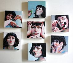 Jenny / small art / 7 tiny canvas prints / face by tushtush, $140.00