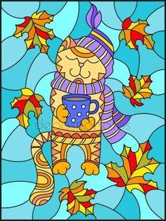 Скачать - Иллюстрация в стиле витражи с смешные кошки в шляпу, шарф и кружку чая на фоне ярких осенних листьев — стоковая иллюстрация #164468234