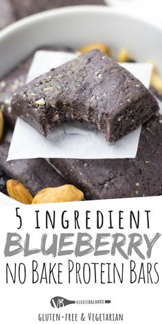 No Bake Protein Bars are super simple and the perfect copycat recipe for those delicious RX Bars. The ultimate combination of protein-packed blueberry muffin flavor. Haven't had a Blueberry RX bar yet? No need to buy to try, here is your chance for a homemade healthy, no-bake protein bar option. via @veggiebalance