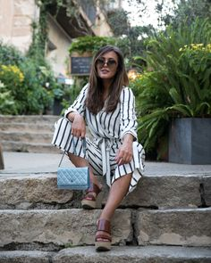 Summer Look: striped Jumpsuit and Wedges. Get inspirational Looks on: designdschungel.com