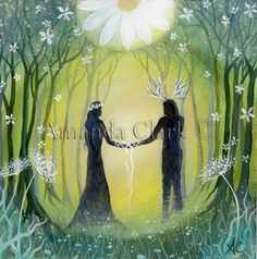 A set of 4 Artist made greeting cards. Reproductions from one of my paintings, 'Handfasting'.