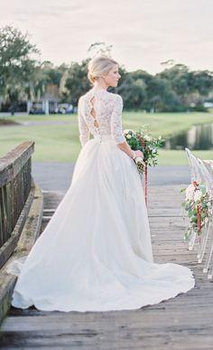 A Charleston winter wedding styled shoot by Paula Player Photography. See more gorgeous photos here.... @intimateweddings.com #weddingdress #lace #styledshoot