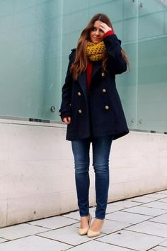 How to Wear Blue Jeans: 60 Outfits to Inspire Casual Winter Outfits, Fall Outfits, Fashion Outfits, Peacoat Outfit, Mustard Scarf, Navy Pea Coat, Blue Coats, Moda Fashion, Swagg