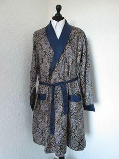 vintage silk satin paisley priny dressing gown smoking jacket robe navy blue m/l £48.00