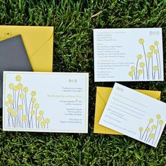 I love these yellow craspedia wedding invitations! Yellow Wedding Invitations, Floral Invitation, Wedding Invitation Cards, Invitation Design, Wedding Cards, Invites, Wedding Website, Wedding Blog, Wedding Ideas