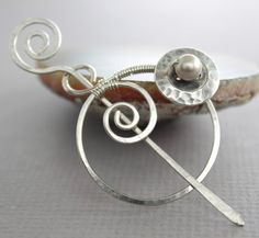 This artisan swirly shawl pin or scarf pin made with 16 gauge German silver wire, embellished with beautiful silver tone button and wrapped cream