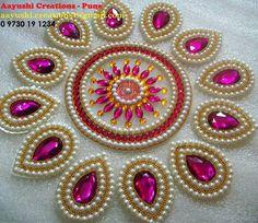 double line muthu design drops - Life ideas Thali Decoration Ideas, Diy Diwali Decorations, Diwali Craft, Diwali Rangoli, Diy Arts And Crafts, Bead Crafts, Pista Shell Crafts, Acrylic Rangoli, Housewarming Decorations