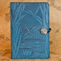Dragonfly Pond Moleskine Leather Journal Covers with Pewter Clasp by Oberon design.