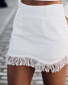 white fringe skirt