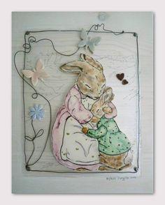 Peter rabbit - Beatrix Potter. CERAMICS DECORATIONS - HANDMADE IN ITALY #beatrixpotter #rabbits #conigli #ceramica #ceramiccreations #pottery #handmade #fattoamanoconilcuore #filodiferro