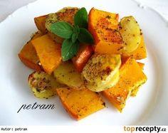 Pečená dýně hokkaidó s bramborami na bylinkách Vegetarian Cooking, Sweet Potato, Cantaloupe, Paleo, Food And Drink, Potatoes, Gluten Free, Healthy Recipes, Vegan