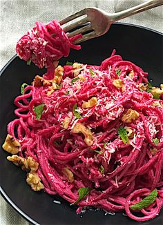 Pasta with Creamy Beet Sauce, Walnuts, and Parmesan. Nourishing and delicious - Mom's Kitchen Handbook