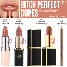 Charlotte Tilbury Bitch Perfect K.G Lipstick Dupes – All In The Blush – makeup products Peach Lipstick, Lipstick For Fair Skin, Perfect Lipstick, Drugstore Makeup Dupes, Natural Lipstick, How To Apply Lipstick, Beauty Dupes, Makeup Swatches, Beauty Makeup
