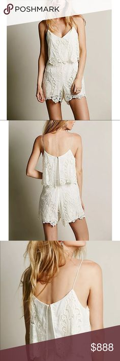 FREE PEOPLE Woven Romper Intricate Casual Jumpsuit Size Small. Excellent Condition.  • Beautiful ivory romper featuring lightweight gauze fabric & scalloped detailing. • Floral petticoat embroidery throughout with raw seams. • Keyhole at open back with speckled button. • Pieced natural lace & narrowed waistline. • Hidden back zip closure. • Non-adjustable straps. • By Dolce Vita for FP. • 220 msrp + tax. • Self-lined. • S = 4-6.  # Fall Bohemian Boho  { Southern Girl Fashion } •…