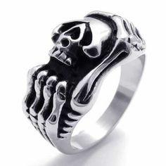 CET Domain Men Womans Titanium Steel Skull Fashionable Ring Accessory-Size 12 - - Need to impress someone special, but dont know how? Browse through our new jewelry Silver Skull Ring, Silver Man, Skull Rings, Titanium Jewelry, Titanium Rings, Jewellery Uk, Jewelry Shop, Jewelry Gifts, Fashion Rings