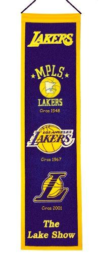 """NBA Los Angeles Lakers Heritage Banner One 32"""" x 8"""" NBA licensed wool banner chronicling the evolution of team logos over time."""