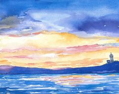 Original Watercolor  Painting Impressionistic Watercolor Ink
