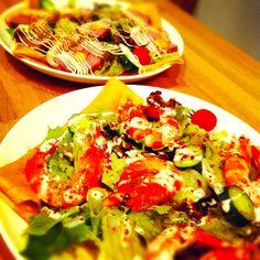 Shrimp Crêpe Vegetable Pizza, Shrimp, Vegetables, Food, Veggie Food, Vegetable Recipes, Meals, Vegetarian Pizza, Veggies