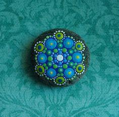 Jewel Drop Mandala Painted Stone Mermaid Ocean by ElspethMcLean, $30.00