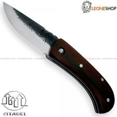"""CITADEL SMALL BUDDY Folding Custom Knife CITA-216, folding handmade knives with blade of DNH7 Carbon Steel of high quality with selective tempering, mirror polish finishing and Brut de Forge - HRC 40/60 - Blade lenght 3.4"""" - Thickness 0.16"""" - Handle made with Rosewood inserts finely hand finished by skilled artisans, a precious wood, tough, durable and with high porosity dark brown with black streaks - Traditional Lock system - Overall lenght 7.9"""" - Design by Citadel Cambodia..."""