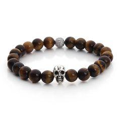 beau bracelet argenté de perles de pierre de œil de tigre