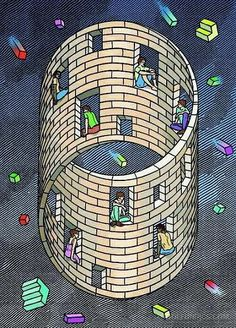 Orosz, Istvan ) - Moebius House (Private Collection) - Escher M Optical Illusion Art Illusion Optical, Illusion Kunst, Cool Optical Illusions, Illusions Mind, Op Art, Perspective Forcée, Escher Kunst, Mc Escher Art, Illusion Paintings