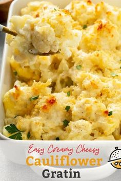 Cauliflower Gratin is a cheesy, creamy and easy cauliflower recipe perfect for any meal, from busy weeknight dinners to holiday meals. In this Cauliflower Gratin recipe, steamed cauliflower is baked in a rich and decadent homemade cream sauce until golden brown and bubbly. #lemonblossoms #recipe #easy #sidedish #cauliflower #cheesy #vegetarian