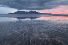 Laig Sands and minimal sunset. Isle of Eigg. Small Isles. Scotland.