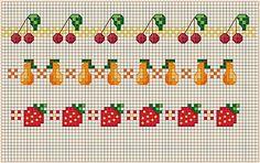 Summer fruit borders free cross stitch pattern
