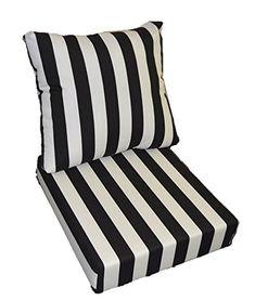 "Black and White Stripe Cushions for Patio Outdoor Deep Seating Furniture Chair - Choice of Size (SEAT CUSHION - 24"" W X 25"" D / BACK CUSHION - 24"" W X 21"" D) Resort Spa Home Decor http://www.amazon.com/dp/B00ZARRZS8/ref=cm_sw_r_pi_dp_2xTVvb14WQMQJ"